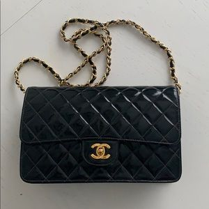 Chanel Classic Med Vintage Quilted Patent Clutch